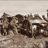 Soldiers Struggling With an 18-pounder