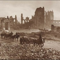 The ruins of the Cloth Hall, the Cathedral and Bishop's Palace, Ypres